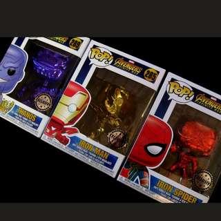 Funko Pop Infinity War Chrome IronMan Thanos Spiderman