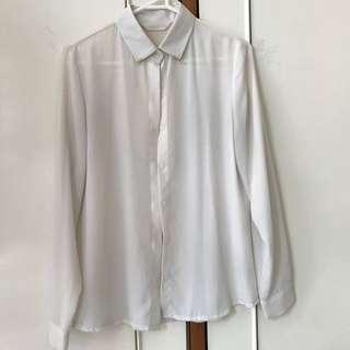Chiffon blouse w/ gold collar tips