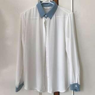 Chiffon blouse w/ blue detailing