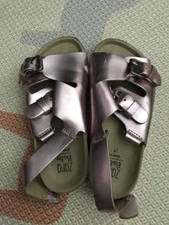 Lightly worn Zara Metallic Pink Birkenstock Baby Girl Shoes (Size 24)