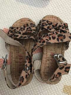 Lightly Worn Seed Leopard Print Baby Girl Sandals (Size 24)