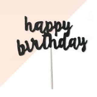 happy birthday Black Glitters Cake Topper