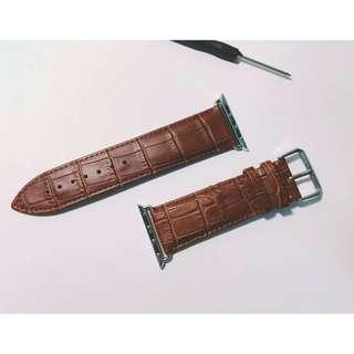 apple watch 皮錶帶 鱷魚壓紋 皮革 牛皮 錶帶 42mm