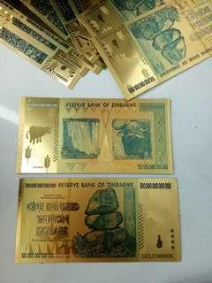 100 trilyun dollar Zimbabwe lapis emas 24k