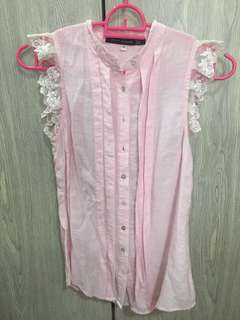 Frilly pink blouse + FREE shipping in MM