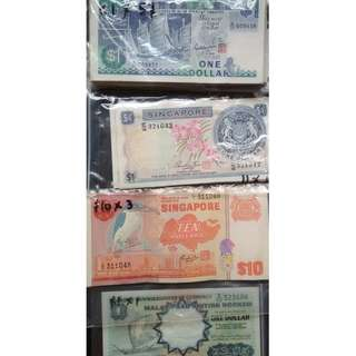 Singapore old currency notes