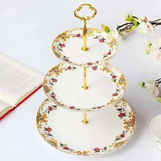 3 Tier Cake Stand teacup set with Teapot