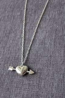愛神丘比特箭穿心 鎖鏈 心心頸鏈 頸鍊 原宿 harajuku love heart necklace