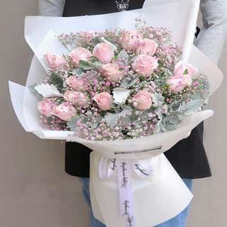 Fresh Flower Bouquet Anniversary Birthday Flower Gifts Graduation Roses Sunfowers Baby Breath -  16777     68