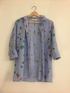 Zara button down fruit shirt