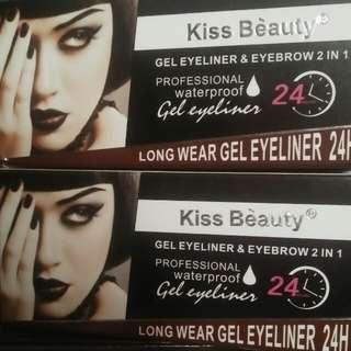 Eyebrow powder and eyeliner gel kiss beauty