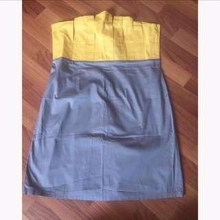 Yellow/Gray Tube Dress