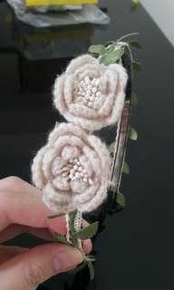 DIY手工髮飾 森女森林系髮箍頭飾 毛線鈎花朵 葉子蕾絲花邊