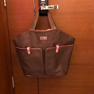 KwanPen tote bag - brown with pink croco leather trim