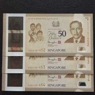 SG50 Notes $50 x 3pc Running Number