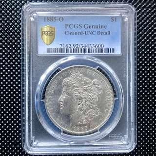 PCGS UNC 美國摩根銀幣 1885-O 壹圓 大頭妹