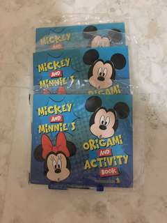 Brand new 03 pieces mickey and  minnie origami and activity book singapore airlines