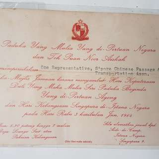 1963 & 1964 Singapore Invitation cards
