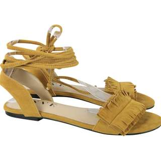 Enve Mustard Lace Up Sandals
