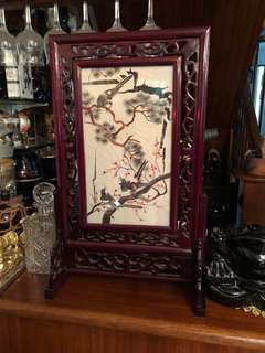 Chinese bird design embroidery table screen