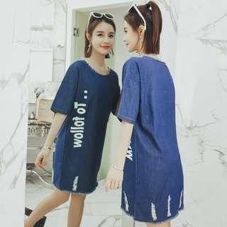 70639#新品大碼牛仔磨邊印花字母中長款連衣裙   颜色:藍色  尺码:XL 2XL 3XL 4XL 5XL XL