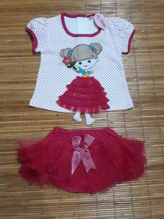 Baju set bayi perempuan / baby girl set dress