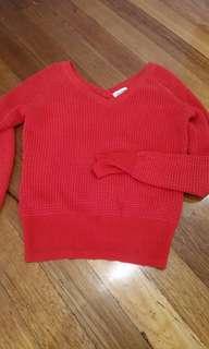 Red v neck knit CK