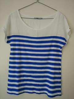 Blue white stripe short sleeve top