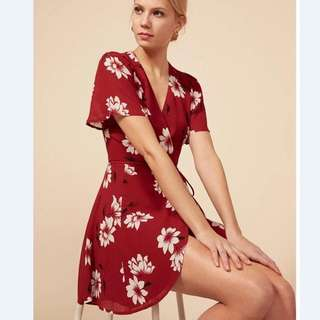 Reformation Dupe red floral wrap dress