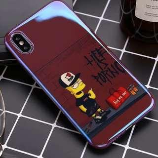 手機殼IPhone6/7/8/plus/X : 紅底芝麻街全包黑邊光面軟殼