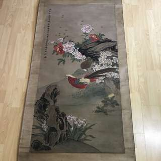 {Collectibles Item - Ancient Ink Painting} 清朝古画 Qing Dynasty Chinese Ancient Painting On Silk -【花鳥真品画】 軸画長6尺8寸(198cm) 寛2尺7寸(78cm)  - 翁雒 (Wang Luo) 1790年-1849年,字穆仲,号小海,一号小梅,清代江苏吳江人。翁广平次子。画有夙慧,初㝍人物,中年后专攻花鳥、草虫,水族,画龟。卒年六十。