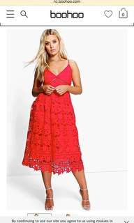 Red Lace Occasion Dress - Size 18
