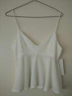 Zara white open back sleeveless top