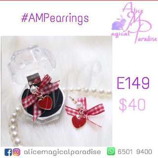 Red White Checked Heart Pearl Earrings AMPearrings Fashion Style Girl 2017 New Winter Autumn 秋冬 耳環 紅白 格仔 珍珠 雜誌 明星 女神 Butterfly 蝴蝶 日系 2018