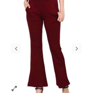 Bell bottom maroon stretchy pants