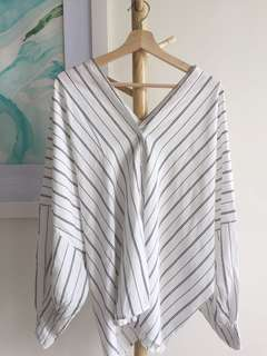 Striped oversized kimono top