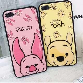 手機殼IPhone6/7/8/plus/X : 可愛維尼熊小豬鏡面全包黑邊玻璃背板殼
