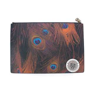 (NEW) GIVENCHY BC06346388 PEACOCK FEATHERS PRINTED COATED CANVAS POUCH PVC POUCH SHW, BROWN/MULTI 全新 細袋 銀包 散紙包