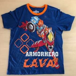 BN 🤖BALENO🤖 Boys' Short Sleeve Armorhero Lava Blue Top/ T-Shirt (Size: 140)