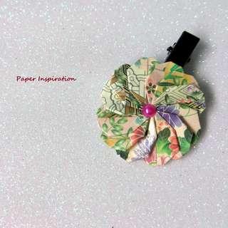 Handmade origami floral hairclip/brooch