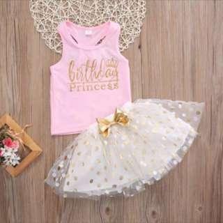 2 Pcs Girls Set Sleeveless Top + Polka Dot Skirt