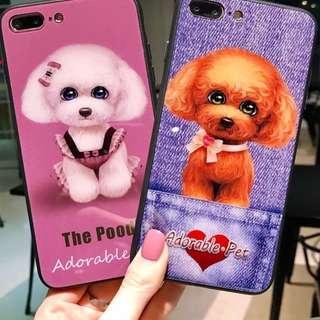 手機殼IPhone6/7/8/plus/X : 可愛狗狗全包黑邊玻璃背板殼