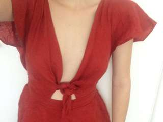 Dissh boutique red jumpsuit new with tags