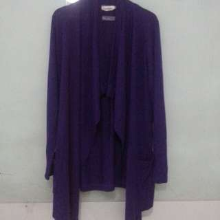 Cardigan ungu panjang jumbo