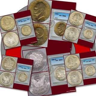 12pcs US ICG Graded GEM Coins (5 Morgan, 1 Bicentennial & 6 Lincoln)