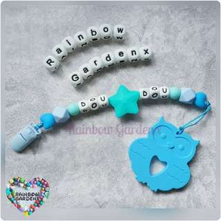 Handmade Customized Pacifier Clip with letter beads + Blue Owl Teether