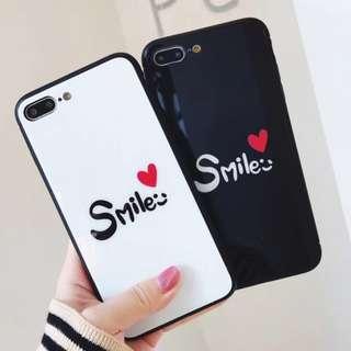 手機殼IPhone6/7/8/plus/X : SMILE字母愛心全包黑邊玻璃背板殼