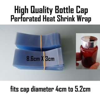 Perforated Heat Shrink Bands 8.6cm X 3cm securely wrap safety tamper seal round bottles and jars caps