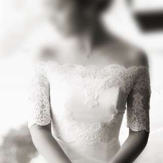 Off-shoulder Wedding Bolero Lace Jacket/ Bridal Jacket