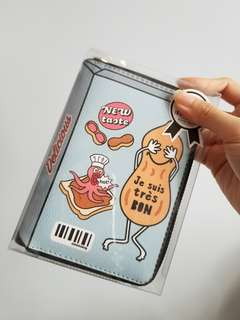 韓國款 搞怪花生 2D 平面 中長款 拉鏈 銀包 錢包 夾包